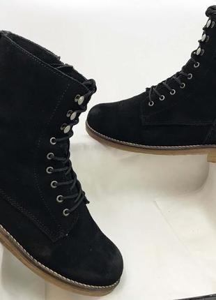 Tamaris ботинки женские замша на замке со шнурком качественные черные зима на меху тёплые