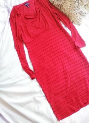 Красное платье миди большой размер