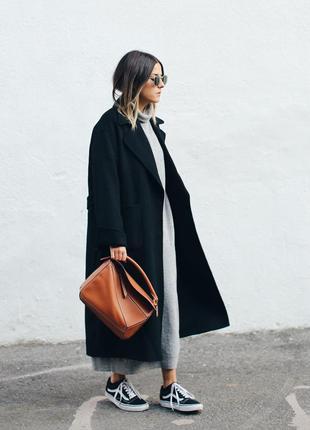 Длинное чёрное прямое свободное пальто оверсайз бойфренд шерстяное зимнее теплое шерсть