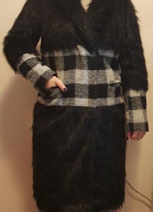 Продам зимнее шерстяное пальто/шубу с отделкой из эко меха