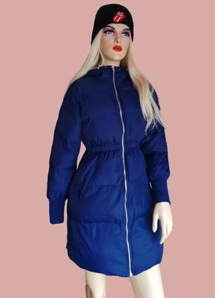Распродажа !! теплая  повседневная синяя куртка  пуховик со змейками по бокам, хит!