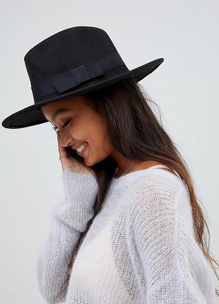 Трендовая шляпа федора 100% шерсть asos