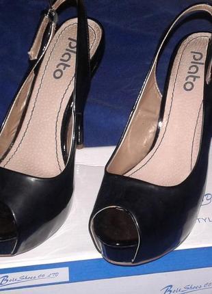 Туфли черные лаковые высокий каблук скрытая платформа