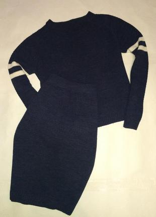Стильный вязаный трикотажный костюм миди, свитерок и юбка goldi s/m