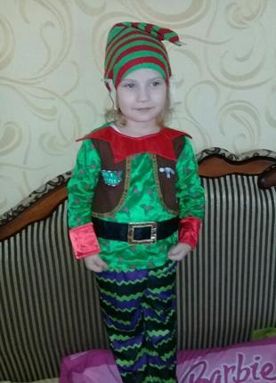 Карнавальный костюм помощник санты, гномик на 3-4года.