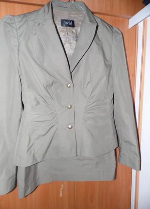 Дизайнерский деловой костюм двойка пиджак+ юбка jean paul gautier размер 38