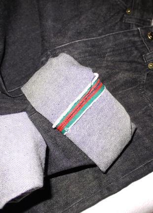 Оригинал gucci джинсы из плотного денима . темно серые завышенная посадка4 фото