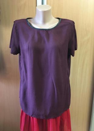 Блузка с кожаной отделкой размер 16