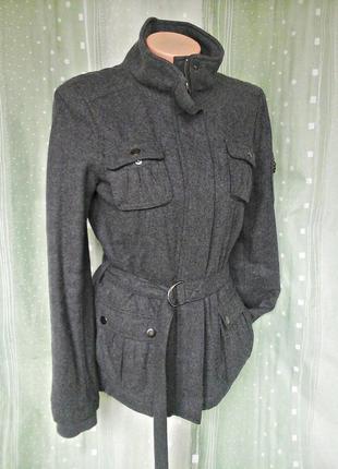 Стильная куртка, жакет на молнии, 55% шерсти, подкладка с утеплителем