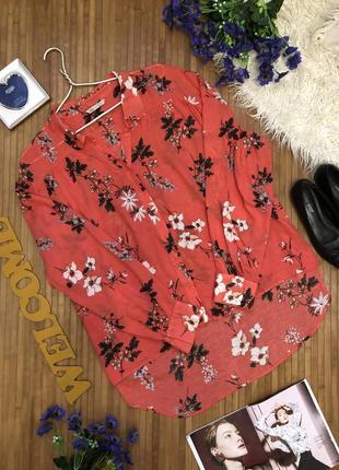 Изумительная натуральная рубашка в цветы с удлиненной спинкой оверсайз