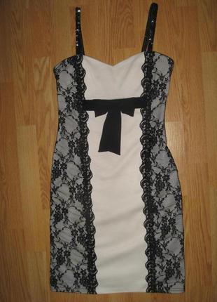 Красиве трикотажне плаття з мереживом роз.s-m