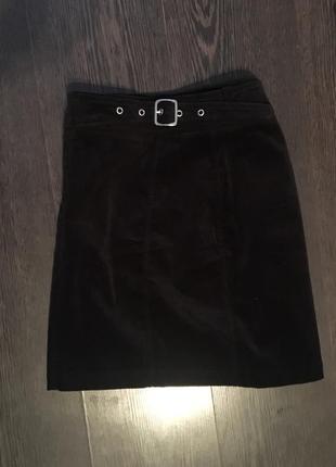 Чёрная вельветовая юбка next