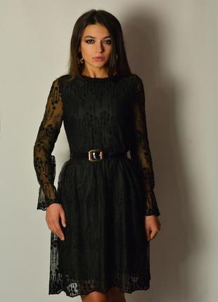 Женственное платье миди кружево вышивка пояс