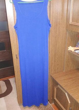 Синее вискозное платье -макси atm