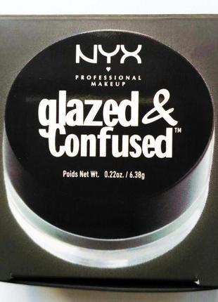 Тени для глаз с влажным эффектом nyx glazed & confused  в оттенке toxic