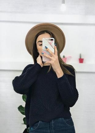 Синій тепленький укорочений світерок укорочённый свитер джемпер женский оверссйз xs/s/m