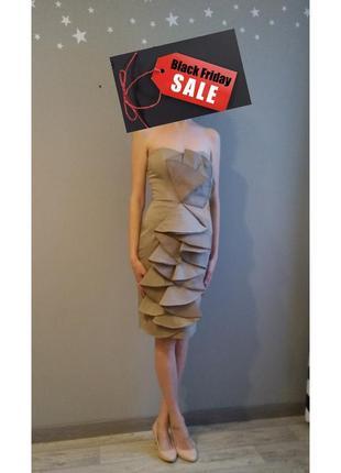 Коктейльное нарядное платье бюстье без бретелек карандаш волан рюши