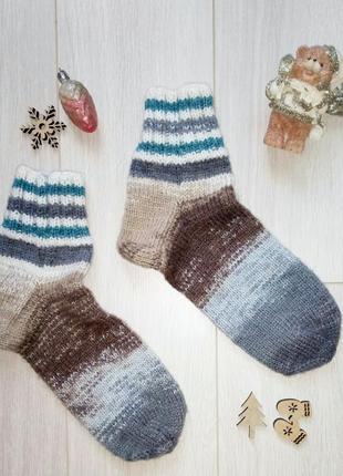 Теплые вязаные носки из полушерсти