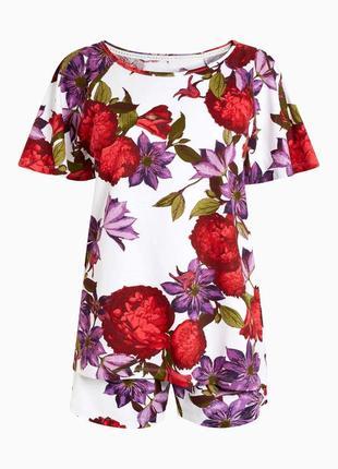 Хлопковая пижама в цветочный принт next
