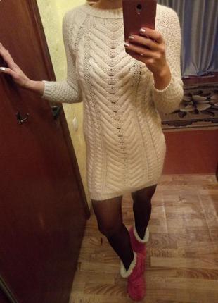 Шерстяное вязаное платье zara