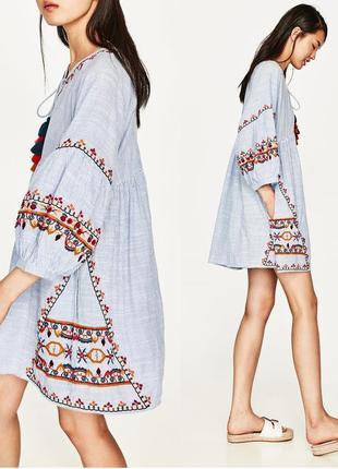 Zara платье в полоску с вышивкой