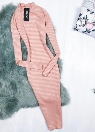 Базова сукня-гольф довжини міді \ базовое пудровое платье гольф миди boohoo