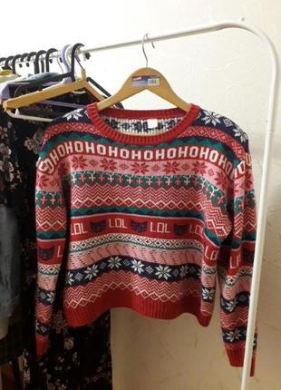 Теплый укороченный свитер h&m