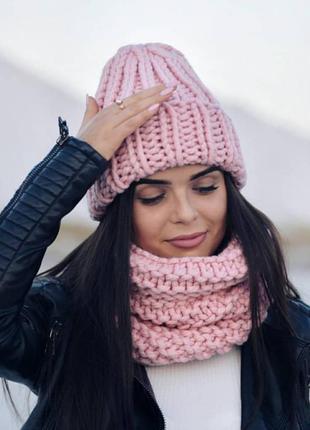 Вязаная шапка крупной вязки шерсть хит сезона