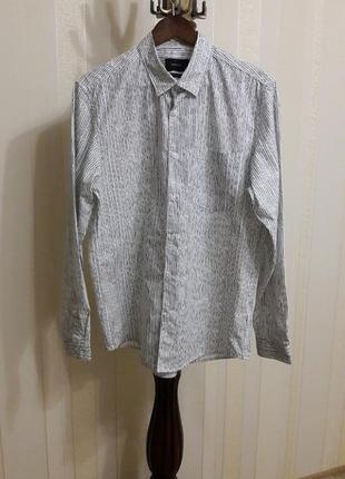 -50% стильная фирменная мужская молодежная рубашка в полоску reserved