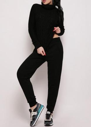 Женский вязаный черный костюм свитер и штаны (42-46, много цветов)