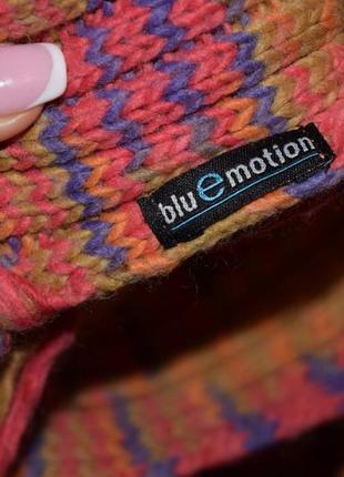Красивый яркий тёплый шарф  blue motion2 фото