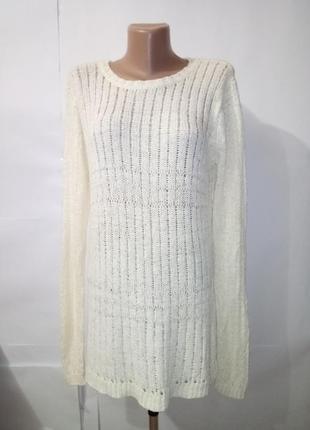 Белый удлиненный свитер кофта туника mango uk 14 / 42 / l