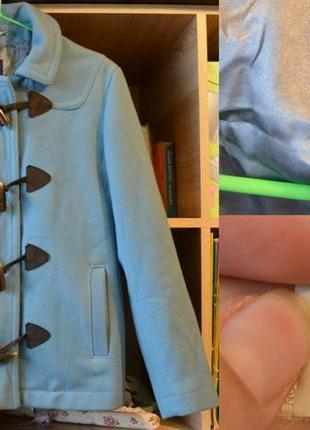 !!!окончательная распродажа!!! шерстяное голубое короткое пальто полупальто дафлкот gap