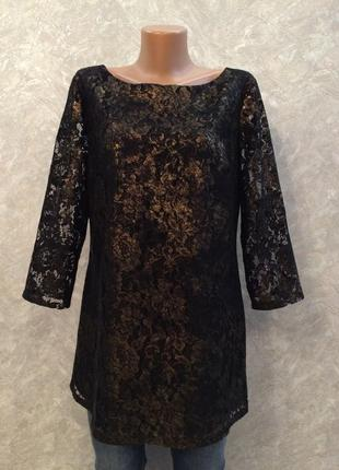 Блузка гипюровая с золотистым напылением moonsoon