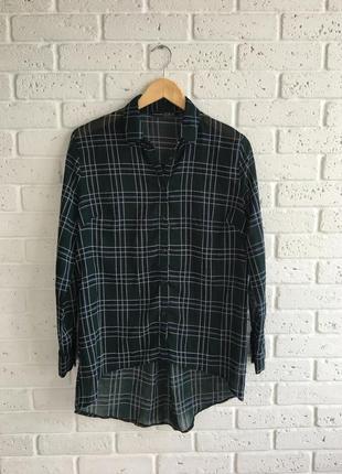 Темно-зеленая ассиметричная шифоновая рубашка в клетку