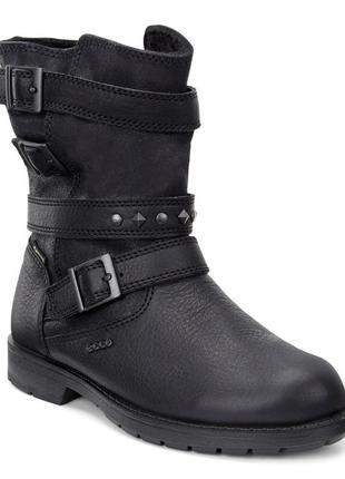 Зимові шкіряні чобітки ecco з мембраною gore-tex