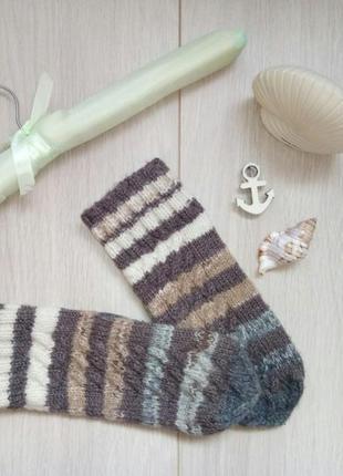 Теплые вязаные полосатые варежки, рукавицы в косы