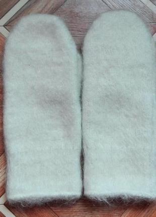 Натуральные шерстяные варежки овечья шерсть