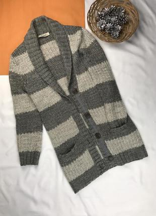 Кардиган джемпер тёплая кофта на пуговицах зимняя кофта полосатая кофта
