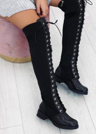 Рр 36-41 люксовые эксклюзивные высокие ботинки ботфорты на шнуровке