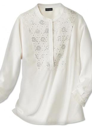 Шикарная сатиновая блуза с пайетками р. 42 tchibo