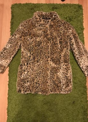 Шуба леопардовая, искусственный мех