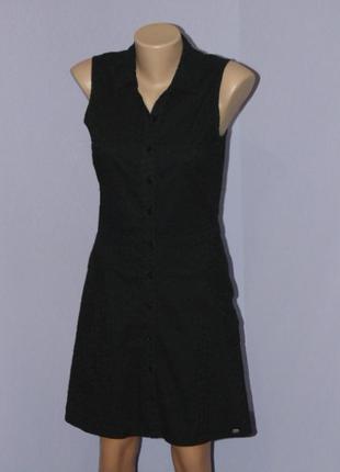 Черное котоновое платье с прошвой