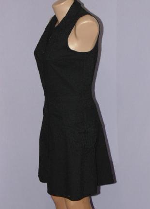 Черное котоновое платье с прошвой4 фото
