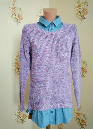 Красивый ддемпер с рубашкой, свитер обманка f&f