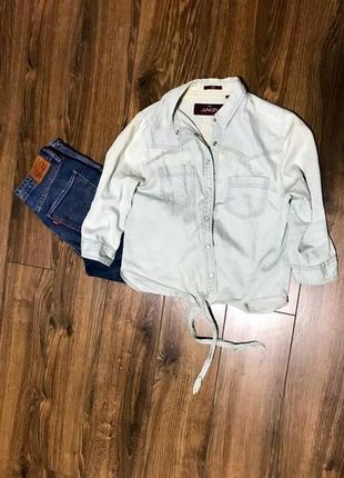 Джинсовая укорочена рубашка с завязочками