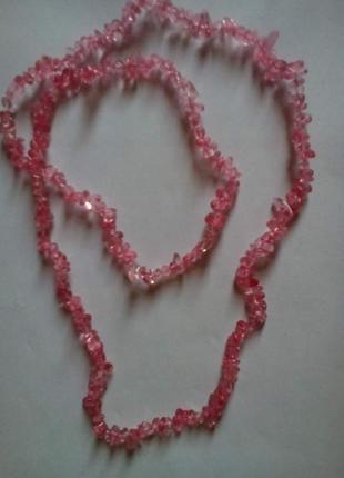 Длинные бусы из камней розового турмалина