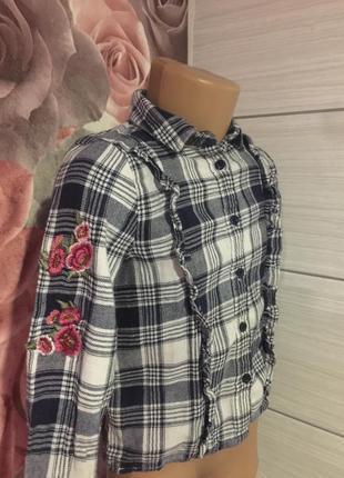 Клетчатая рубашечка с вышивкой от f&f,на 3-4 года!супер!
