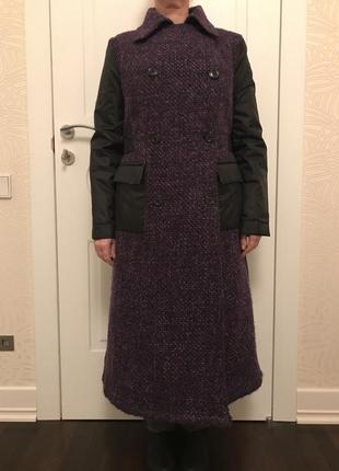 Пальто зимнее тёплое фиолетово-чёрное