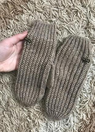 Вязанные варежки перчатки h&m